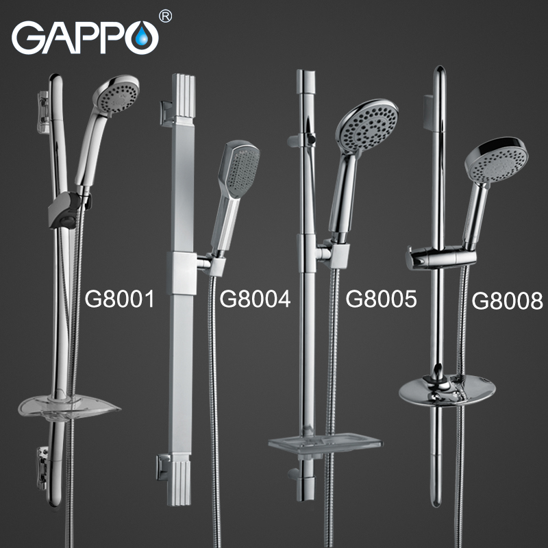 GAPPO Bathroom Shower Slide Bar Stainless Steel Hand Shower Bar Wall Mount Hand Shower Set Hose Soap Dish GA8001 GA8004 GA8005