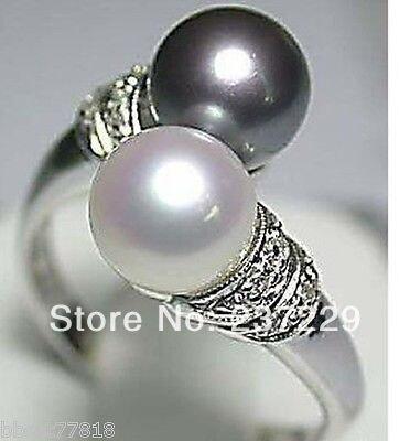 e17dfdd466ed Envío libre    precio al por mayor s   Venta caliente! Real negro blanco  perla de agua dulce anillo de plata tamaño  7 8 9