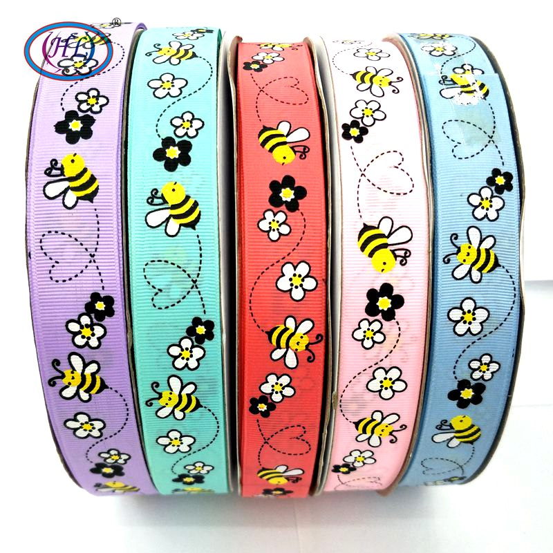 """HL 1""""(25mm) 5 Meters/lot Printed Bee Grosgrain Ribbons Wedding Party Decorative Gift Wrapping DIY Chilren Hair Accessories