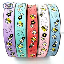 HL 1(25mm) 5 Meters/lot Printed Bee Grosgrain Ribbons Wedding Party Decorative Gift Wrapping DIY Chilren Hair Accessories 6yards lot mix printed trim geometric ribbons diy wrapping wedding party hair bow decoration art sewing accessories 040054006