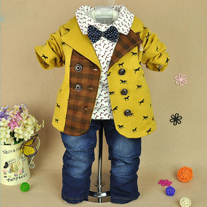 3pcs Outfits Children Sets Clothes for Boys Roupas Infantis Toddler Boy Coat Polo Shirt Jeans Pants Autumn Fashion Kids Clothing