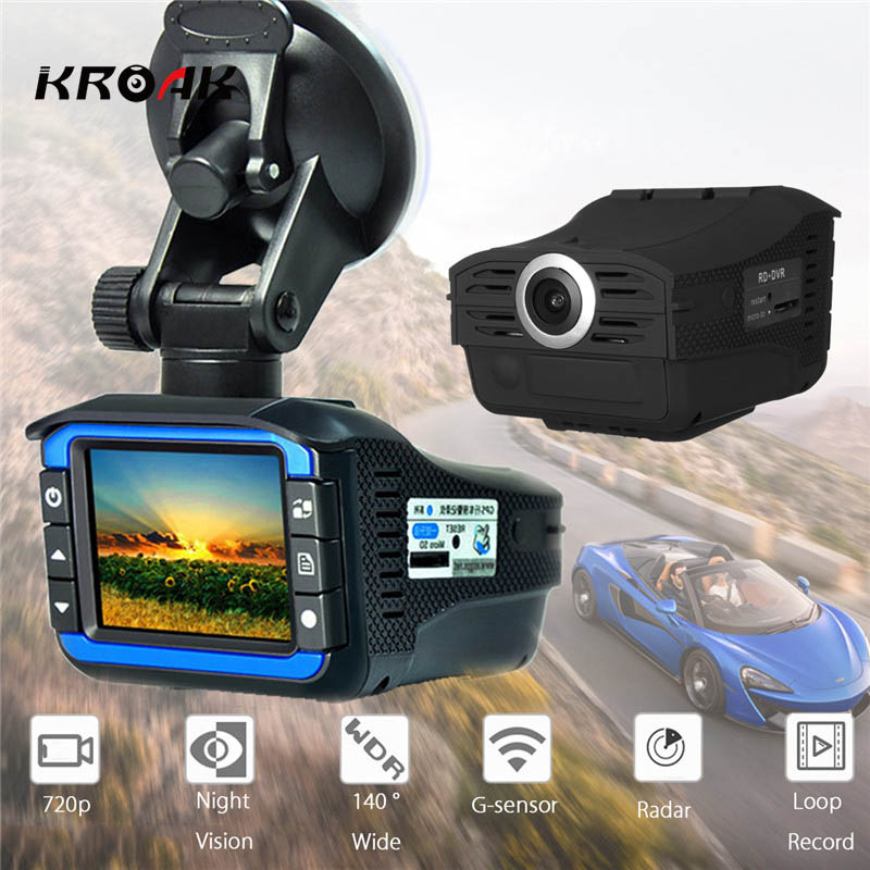2 In 1 720p FHD Car Dash Cam Car DVR Recorder Camera Wide-Angle Video Camera Lens With Night Vision Laser Radar Speed Detector