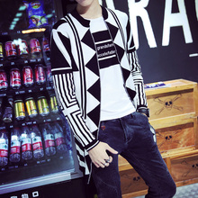 Supreme New V Mens fall collar cardigan sweater geometric men's knitted cardigan Korean