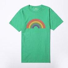 2018 Vogue Women Girl s Rainbow Printed Tshirts Summer Short Sleeved  Harajuku Cotton Quality Tops Oversize Tumblr T shirt Women c08c35a43eff