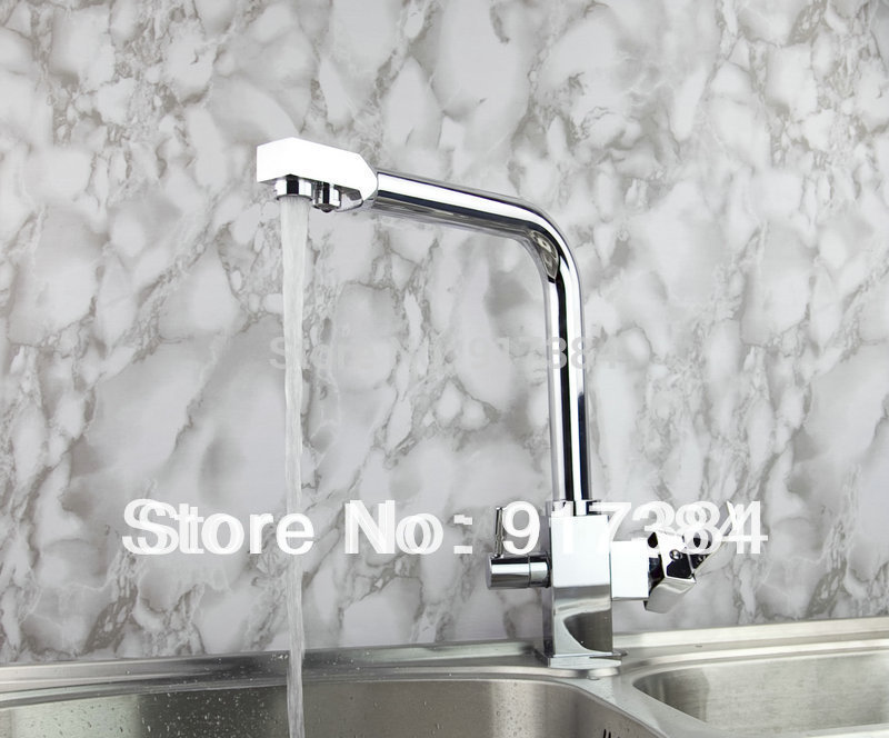 Double handles Kitchen Sink Mixer Tap Swivel Spout Chrome Finished Faucet JN8483 golden brass kitchen faucet dual handles vessel sink mixer tap swivel spout w pure water tap