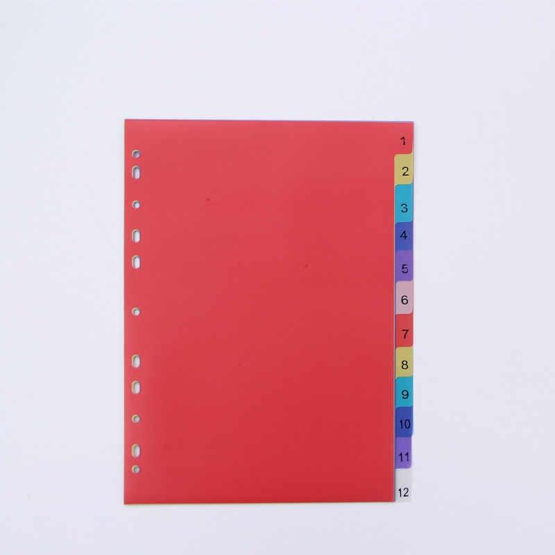 12 ورقة A4 الملونة PP الموثق مؤشر فواصل مكتب القرطاسية المدرسية ملحق دوامة الشهر مقسم المحفوظات الملفات