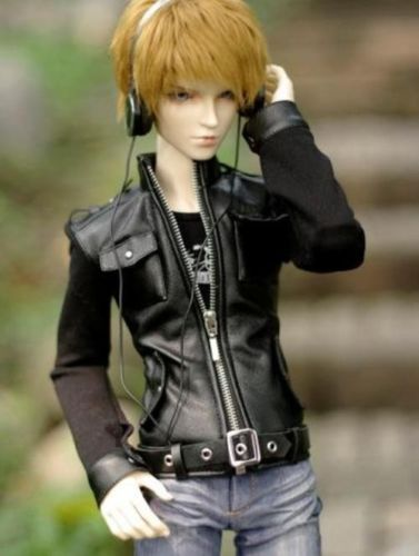 [wamami] 770# Black Leather Jacket Coat Outfit SD DZ 1/3 BJD Dollfie handsome grey woolen coat belt for bjd 1 3 sd10 sd13 sd17 uncle ssdf sd luts dod dz as doll clothes cmb107