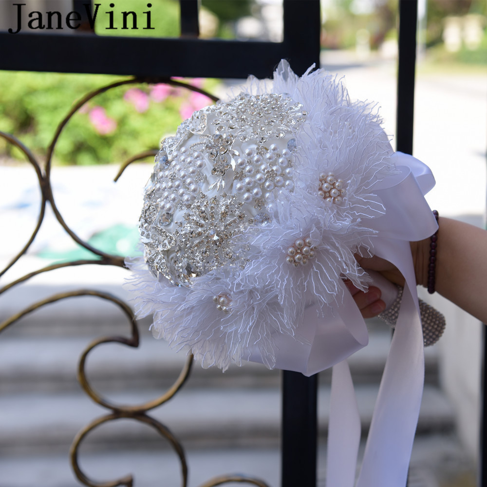 JaneVini Luxury Pearls Crystals Wedding Bouquet White Satin Rose Bridal Bouquet Mariage Rose Artificial Beaded Bride Flowers