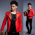2016 male costume S-XXL size jacket blazer fashion outerwear singer bar Handmade leather rivets dancer prom show nightclub party