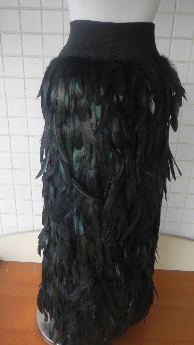 Con Al Cintura Black Por Menor Gallo La Negro Pluma Skt020 Falda Recto Elástica Abertura Venta Coque Izquierda Largo Y Mayor qF7qd