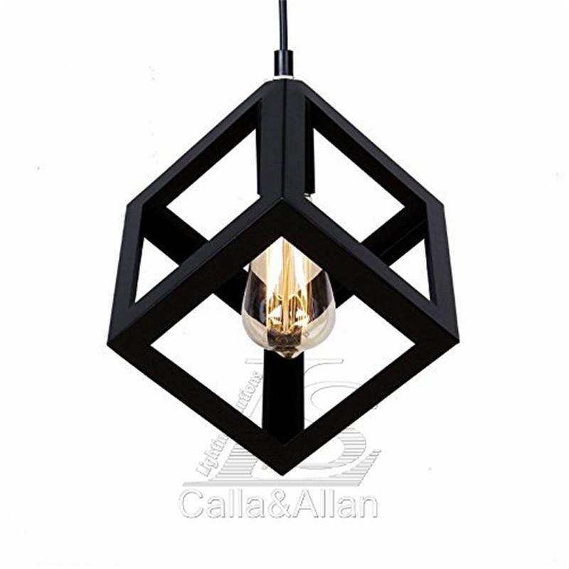 black iron square cage pendant light Loft style Lighting ...