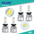 Oslamp Single Beam Car H7 Led Headlight Kit COB Chips/CREE CSP Chips Led Auto Head Light Bulbs with Fan for SUV/Toyota Fog Lamps
