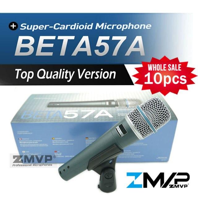 Бесплатная Доставка! 10 шт. Высокое Качество Версия BETA57 Профессиональной BETA57A Караоке Ручной Динамический Проводной Микрофон Beta 57A 57 Mic