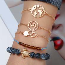 Bohemian 5 Pcs/Set Fashion Bead Chain Metal Bracelet For Women Multilayer Punk Turtle Map Heart Crystal Beads Set
