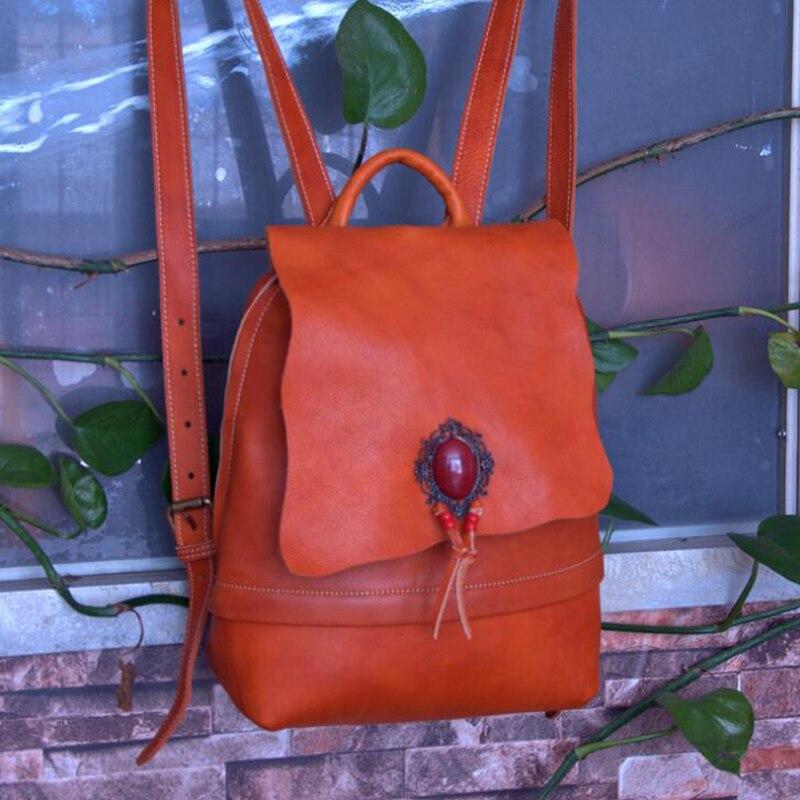 Sac à dos en cuir véritable pour femmes sac à bandoulière classique en bandoulière sac à dos d'école en cuir de vachette mode sac à dos femme rétro