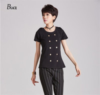 BLACK Street Pure Sexy Personality Breasted O Neck T Shirt Women Tops Autumn Short Sleeve 80
