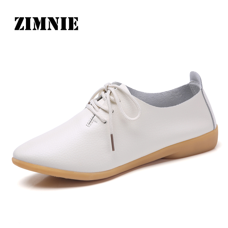 ZIMNIE Summer Woman Oxford Shoes Woman Split Leather Lace Up Loafers Shoes Round Toe Flats Moccasins Woman Boat Shoes Size 34~41