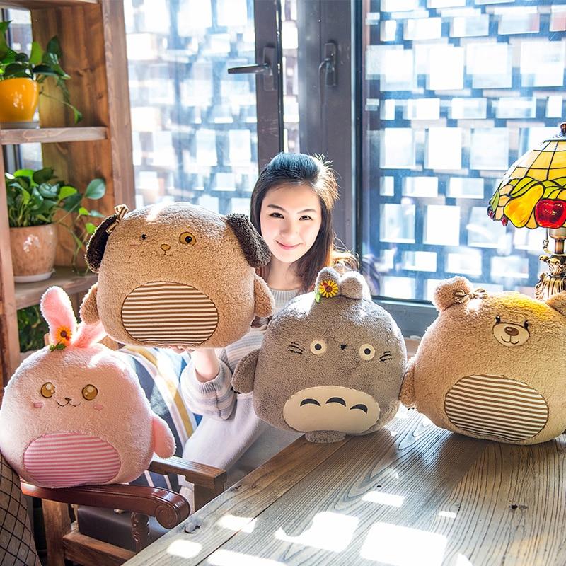 Candice guo! super cute animal rabbit Totoro dog bear plush toy cushion hand warmer blanket birthday gift 1pc 1pc 58cm kawaii plush akita dog toy stuffed animal doll soft pillow with blanket cute hand warmer lovely gift for kids