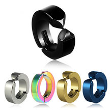 1 Pcs Ear Clip Non Piercing Earrings Fake Earrings for Men Circle Round Earring Fashion Jewelry Punk Rock Style(China)