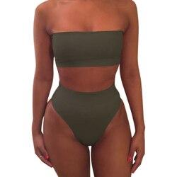 1 комплект женский купальник сплошной цвет бикини модный дышащий для пляжного праздника YA88 4