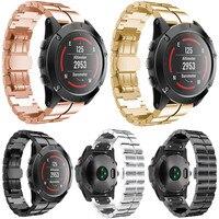 Luxury 26MM Genuine Stainless Steel Bracelet Quick Release Fit Band Strap For Garmin Fenix 5X GPS