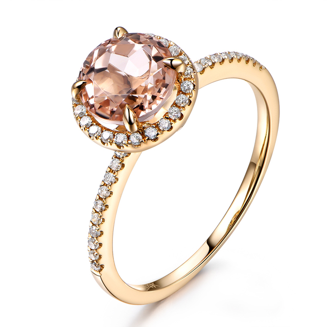 Bien-aimé Myray 7mm ronde naturelle rose morganite halo bagues de  PP98