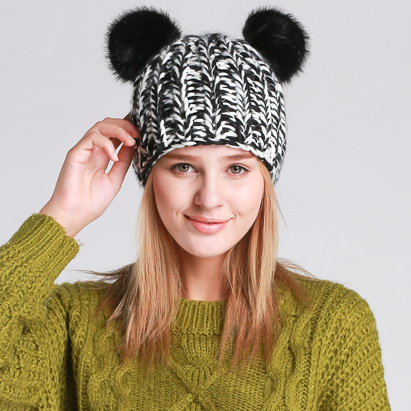 ᐂPrimavera invierno moda mujeres lindo gato gorros sombrero que ...