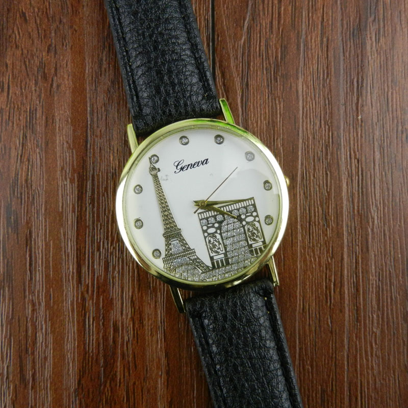 Hot Sale Wristwatch Bangle Bracelet Women Eiffel Tower Printing Pattern Weaved Leather Quartz Dial font b