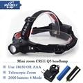 Zoom headlamp cree q5 mini portable rechargeable head light camping LED Headlight Flashlight Lantern head lamp 18650