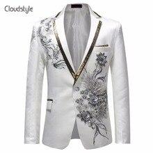Cloudstyle 2018 Male Single Breasted Slim Fit Suit Jacket Men Vintage Style Fashion Floral Print Party Blazer Men Plus Size 5XL