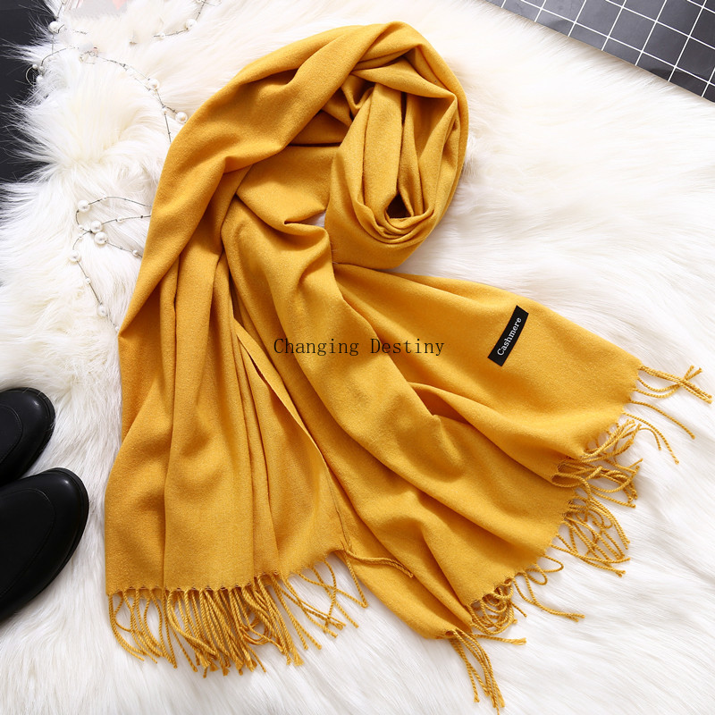 70*180 CM 19 Colors Women's Trendy Wrap Scarf Wool Blends Soft Warm Female Long Large Shawl Tassels Neck Scarves Infinity Scarf