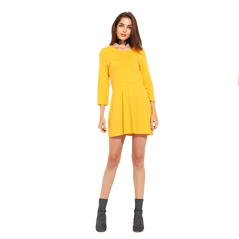 2017 Autumn Women Dress Solid Long Sleeve Back Cut Out Skater Dresses Ladies Elegant Casual Mini Dress Plus Size 2XL TA02800019