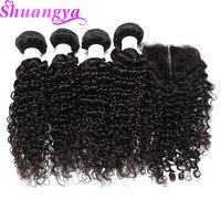 Deep Wave Brazilian Human Hair Bundles With Closure 4 Bundles With Closure 5Pcs Lot Free Middle