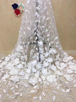 Nigerian Laces JRB-3262 High Quality Tulle Mesh French Embroidered Lace fabric with beads and 3Dflowers