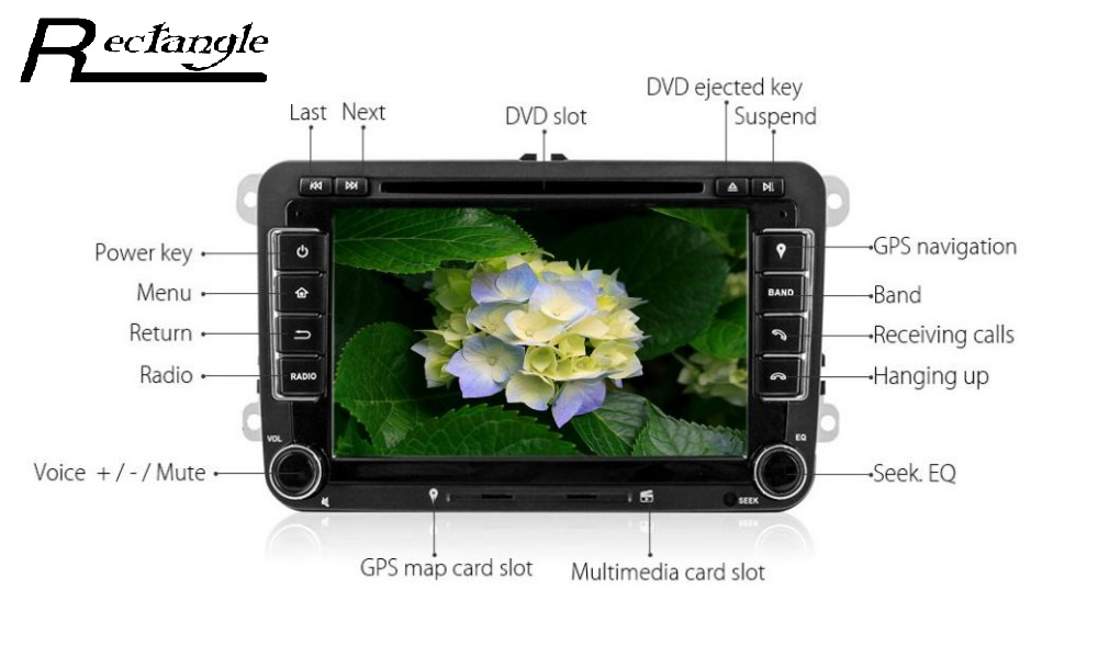 2 Din Android 5.1 Bluetooth Quad-Core 7 Pulgadas 1024x600 HD coche Reproductor d