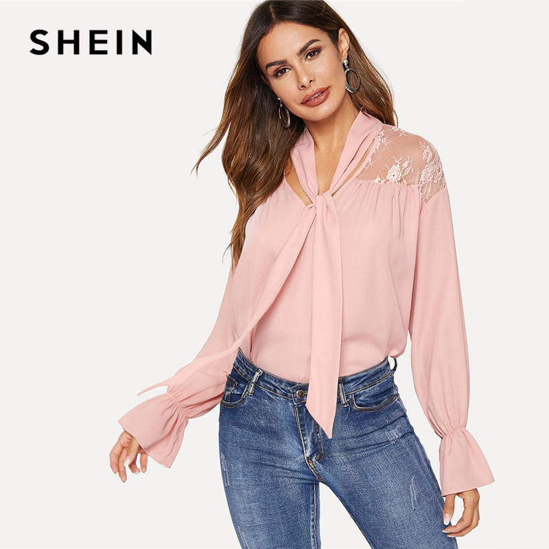 b741685e SHEIN Pink Tie Neck Floral Lace Insert Flowy Solid Tops Spring Casual Flare  Sleeve Women Loose