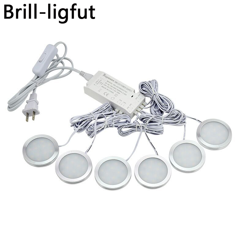 6Pcs Ultra Thin Dimmable LED Under Cabinet Light Puck Light Kit With 12V 18W Switch Power Adapter For Home Kitchen Counter Light