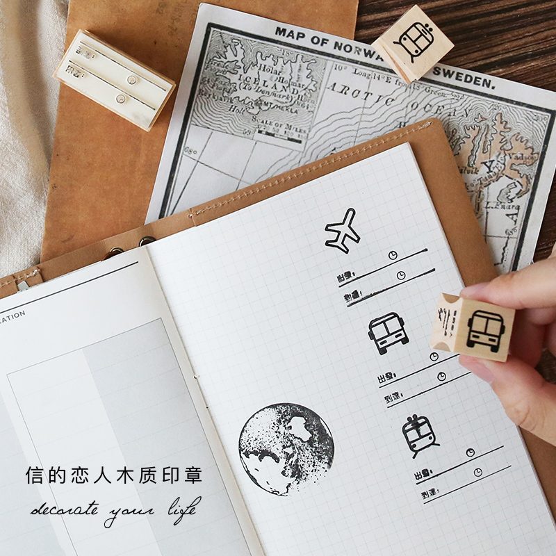 1 x vintage travel postmark decoration stamp wooden rubber stamps for scrapbooking planner DIY craft standard stamp