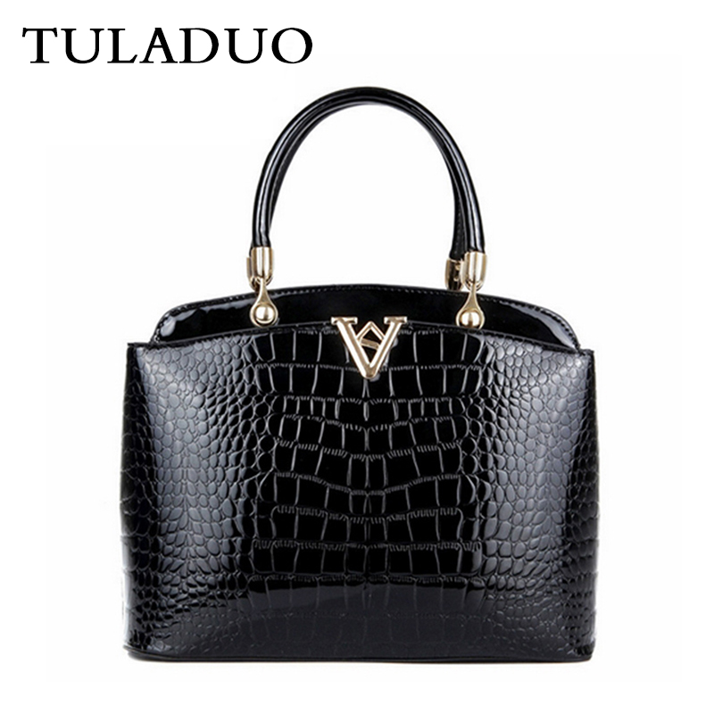 ФОТО Tuladuo Women Luxury Alligator Leather Handbag Bolsos Ladies Vintage Zipper Brand Shoulder Bag Designer New Sac a Main Tote Bag