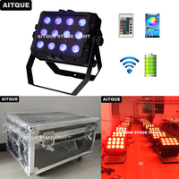 24pcs Outdoor rechargeable led uplighting 12pcs led battery wall washer light accu par 6in1 rgbwa uv flood light flycase