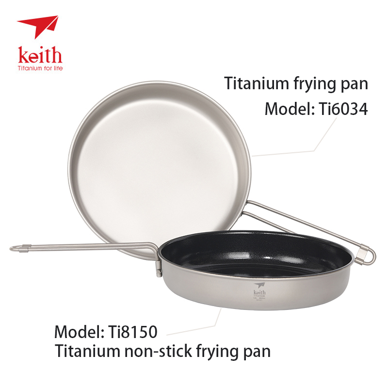Keith Titanium Frying Pan with Folding Handle Outdoor Camping Cookware Flat Pan Non Stick Travel Utensils