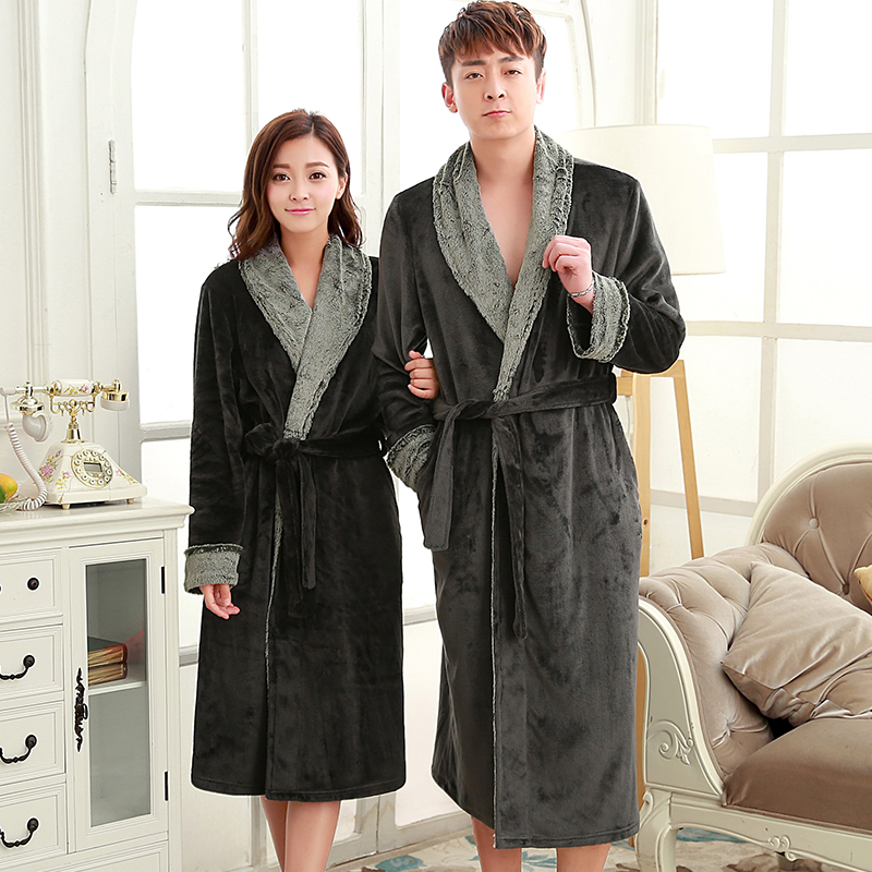 on sale man women luxury fur neck long flannel bathrobe men silk soft winter warm bath robe male. Black Bedroom Furniture Sets. Home Design Ideas