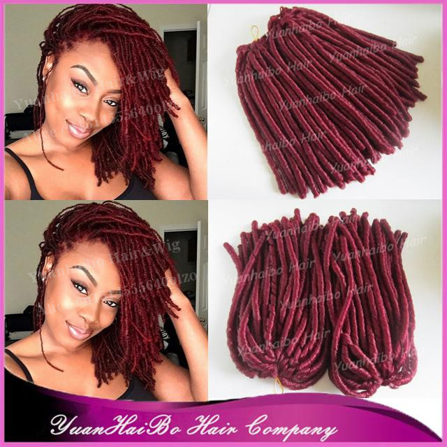 Stock 15 Fold Burgundy Color Marley Hair Dreads Synthetic