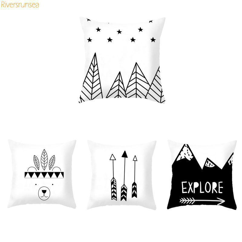 Explore Bear Arrow Black White Prints Nordic Cushion Triangle Geometric Mountain Wild Modern Minimalist Sofa Pillows For Home