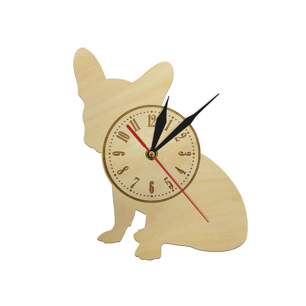 Wood Wall Clock French Bulldog Figurine Bulldog Interior Design Wall Arts Home Hipster Decoration Gift For Animal Lover