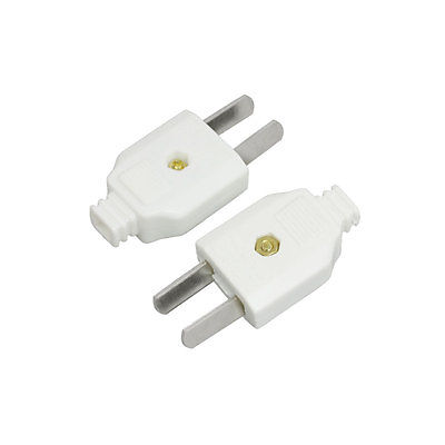 цена на 2pcs 2 Pin US AU Plug Electrical Power Connector Replacement White AC 250V 10A