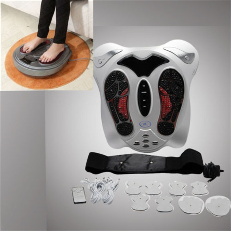 electro magnetic wave far infrared anion therapy foot therapeutic massager machine reflexology booster +8 pads + slim waist belt lenwave 1500 magnetic therapy thin waist aerobic exercise twist board orange white grey