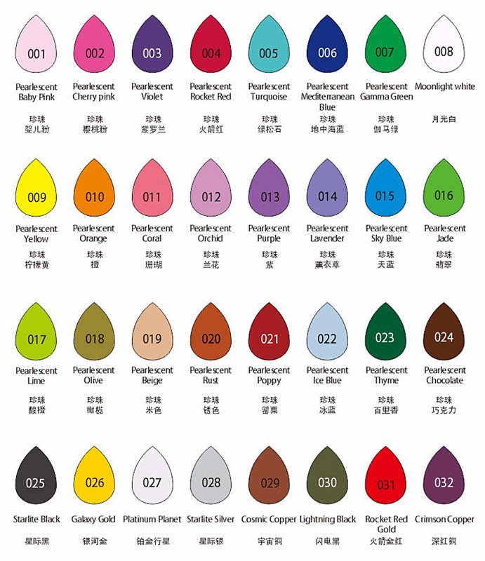 (Pack Of 32) Tear Water Drop Shape High Quality 32 Pearl Colors Stamp Ink Pad
