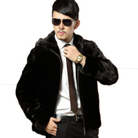 Winter Leather Suede Jacket Mens Faux Fur Coats Hooded Fake Fox Fur Mens Jackets And Coats