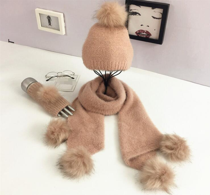 Winter Warm Knit Beanie Scarf Hat & Glove Sets Scarves Real Raccoon Fur Pompoms Fashion Hat Scarf Set For Woman Skullies
